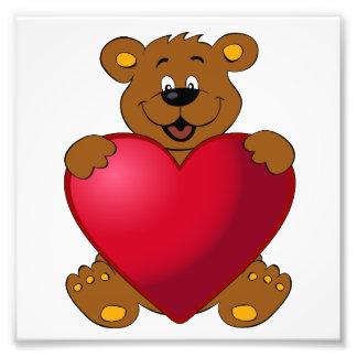 Happy teddybear with heart cartoon girls photograph