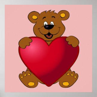 Happy teddybear with heart cartoon girls poster