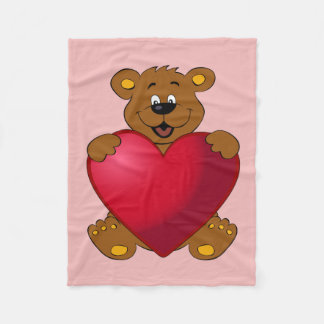 Happy teddybear with heart cartoon kids fleece blanket