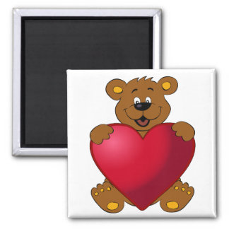 Happy teddybear with heart cartoon square magnet
