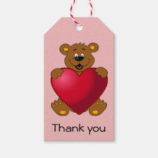 Happy teddybear with heart cartoon thank you girl