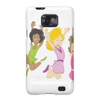 Happy Teenage Girls Jumping Cartoon Galaxy SII Covers