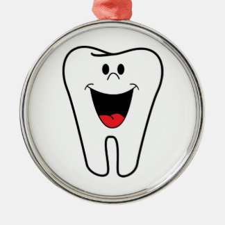Happy teeth customizable for your Dental practice Silver-Colored Round Decoration