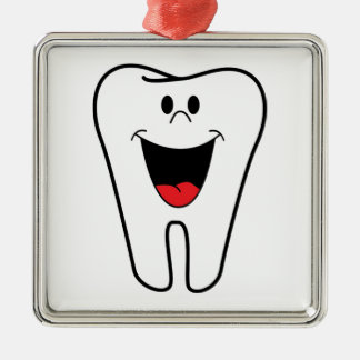 Happy teeth customizable for your Dental practice Silver-Colored Square Decoration