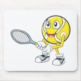 Happy Tennis Player Mouse Pads