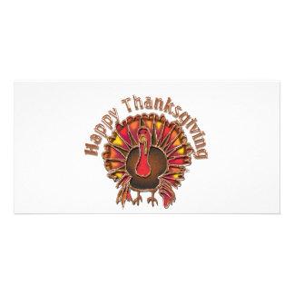 HAPPY THANKGIVING TURKEY by SHARON SHARPE Customized Photo Card