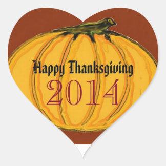 HAPPY THANKSGIVING 2014b green white jGibney The M Heart Stickers