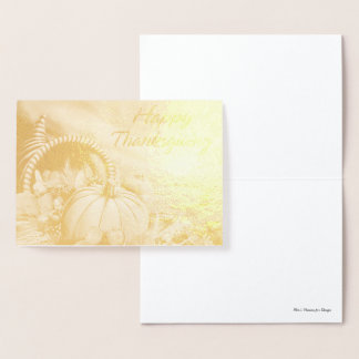 Happy Thanksgiving 2 Options Foil Card
