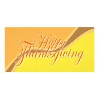 HAPPY THANKSGIVING 2 ORANGE PHOTO CARD TEMPLATE