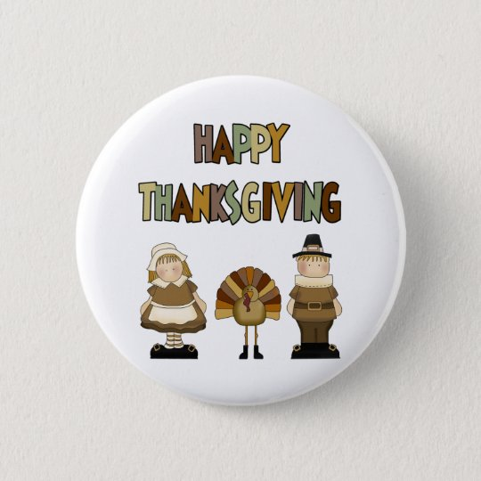 Happy Thanksgiving 6 Cm Round Badge