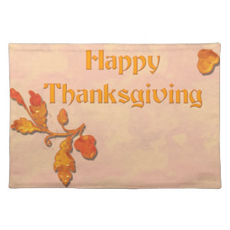 Happy Thanksgiving acorn & leaves Placemat