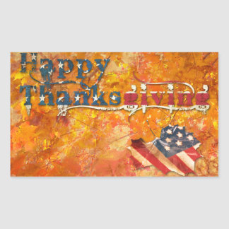 happy thanksgiving (american flag) rectangular sticker