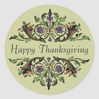 Happy Thanksgiving Antique Cornucopias Art Sticker