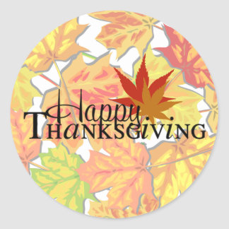 Happy Thanksgiving Autumn Leaves Greetings Sticker