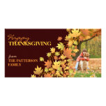 Happy Thanksgiving Autumn Leaves Photo Greeting Custom Photo Card
