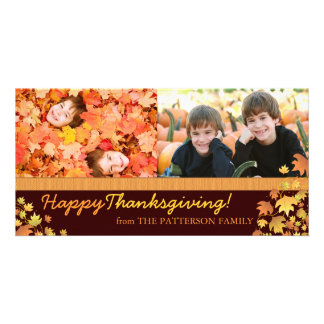 Happy Thanksgiving Autumn Leaves Two Photo Card