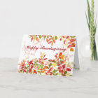 Happy Thanksgiving Autumn Leaves Watercolor Christmas Card