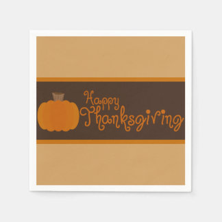 Happy Thanksgiving Autumn Pumpkin Disposable Napkin
