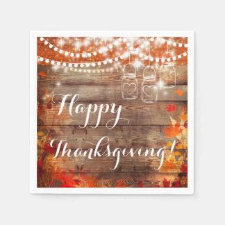 Happy Thanksgiving Autumn Rustic Napkins Disposable Napkins