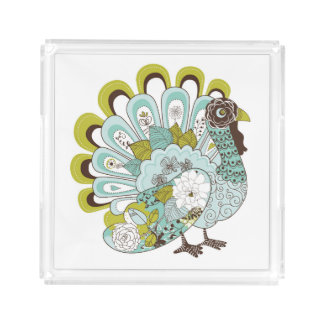 Happy Thanksgiving Beautiful Turkey Card 2 Acrylic Tray