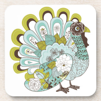 Happy Thanksgiving Beautiful Turkey Card 2 Coaster
