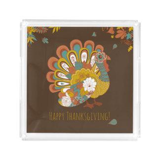 Happy Thanksgiving Beautiful Turkey Card Acrylic Tray