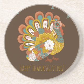 Happy Thanksgiving Beautiful Turkey Card Coaster