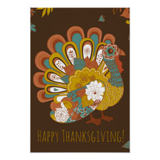 Happy Thanksgiving Beautiful Turkey Card Poster