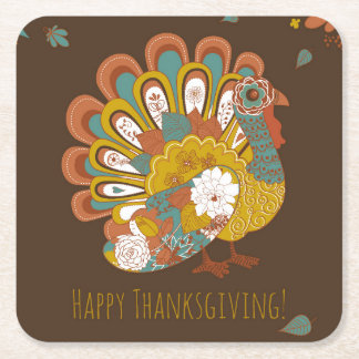 Happy Thanksgiving Beautiful Turkey Card Square Paper Coaster