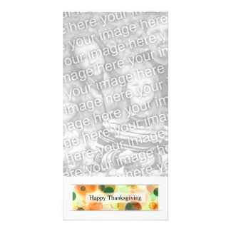 happy thanksgiving bokeh personalized photo card