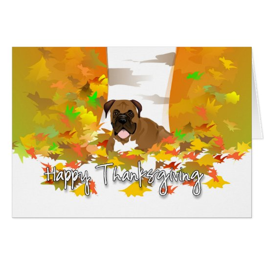Happy Thanksgiving - Boxer Dog Card