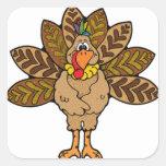 Happy Thanksgiving, Brown Turkey Square Sticker