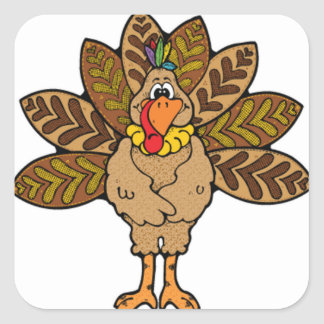 Happy Thanksgiving, Brown Turkey Square Sticker