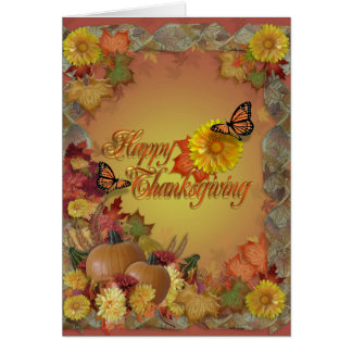 Happy Thanksgiving butterflies and flowers Greeting Card