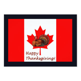 Happy Thanksgiving Canada with flag and turkey Card