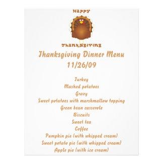 Happy Thanksgiving cartoon turkey holiday letter 21.5 Cm X 28 Cm Flyer