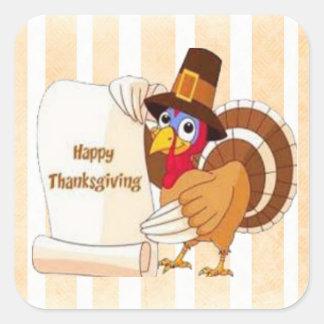 Happy Thanksgiving Cartoon Turkey Stickers