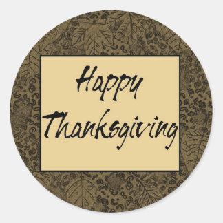 Happy Thanksgiving Classic Round Sticker