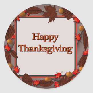 Happy Thanksgiving Classic Round Sticker