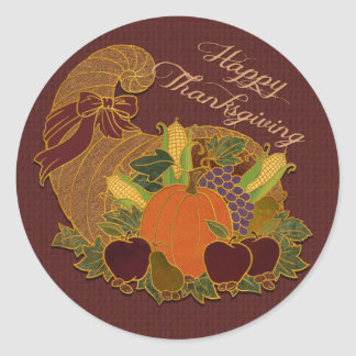 Happy Thanksgiving Cornucopia Stickers