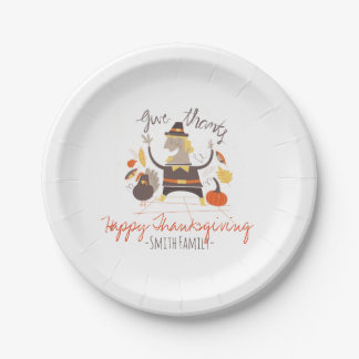 Happy Thanksgiving. Custom. Paper Plate