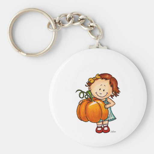 Happy Thanksgiving - Cute Girl with a Huge Pumpkin Key Chains