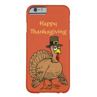Happy Thanksgiving Cute Turkey Pilgrim Cartoon Barely There iPhone 6 Case