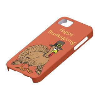 Happy Thanksgiving Cute Turkey Pilgrim Cartoon iPhone 5 Case