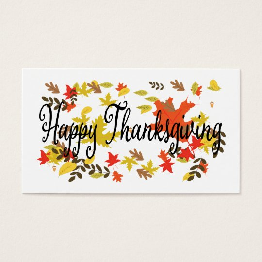 Happy Thanksgiving Day, give thanks, autumn Business Card