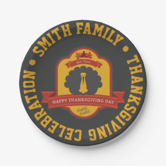 Happy Thanksgiving Day. Give Thanks. Paper Plate