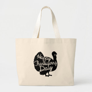 Happy Thanksgiving Day Large Tote Bag