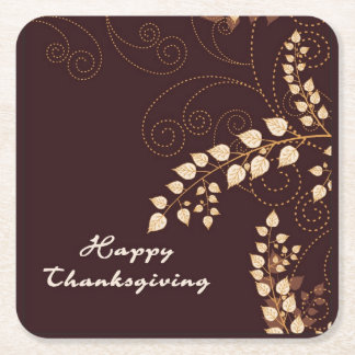 Happy Thanksgiving Day Square Paper Coaster