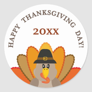 Happy Thanksgiving day year turkey funny Classic Round Sticker