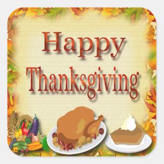 Happy Thanksgiving Envelope Seals Square Sticker